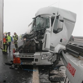 18 Wheeler accident due to the fog in france