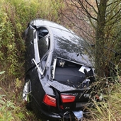 2009 Audi A6 driver lost control and slipped off the hill