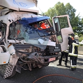 Bad accident between small car and a Truck, see the pictures
