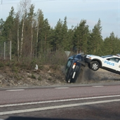 Police flips Audi A6 down after the Audi Driver refused to stop