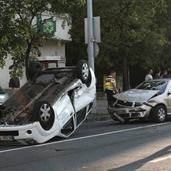 Police car rolled over after an accident with skoda