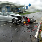 Bad accident between BMW 530i and Motorcycle