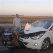 Hyundai hits motorcycle at a high speed in portsaid - Egypt