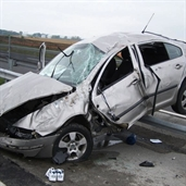 Skoda driver lost control and hit the guard rail