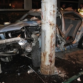 BMW 525i crashed into the power pole in hungary