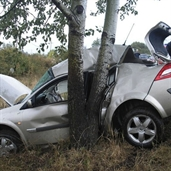Renault megane slipped and hits a tree