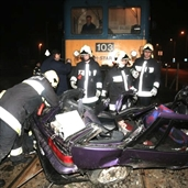 Suzuki crashed by a train in hugary