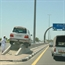 Driving land cruiser on the median in Dubai