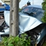 Peugeot 407 crashed into the light pole in Le Creusot france