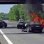 A car catch on fire after an accident in france