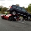 VW touareg accident with toyota prius and another sport car